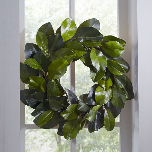 faux magnolia wreath elegant in its simplicity this flourishing wreath offers a lush look