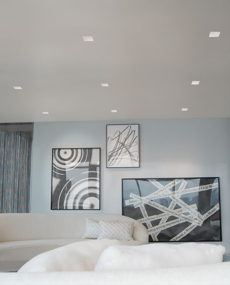 Aurora Recessed Lighting by Pure Lighting. This style of lighting is mainly used to just generally light a room, I do think that they could have used some adjustable eyeball lights to be pointed at the art work to make it more in focus.