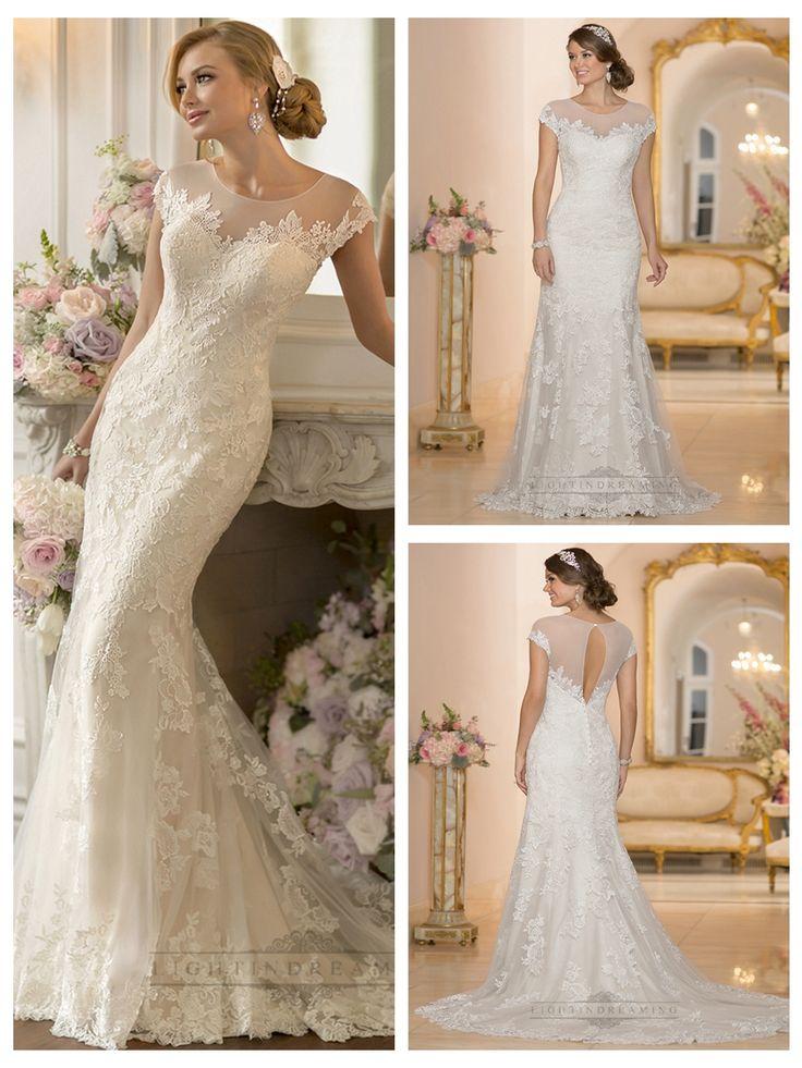 Lace Over Sheer Short Sleeves Illusion Keyhole Back Wedding Dresses http://www.ckdress.com/lace-over-sheer-short-sleeves-illusion-keyhole-  back-wedding-dresses-p-409.html  #wedding #dresses #dress #lightindream #lightindreaming #wed #clothing   #gown #weddingdresses #dressesonline #dressonline #bride