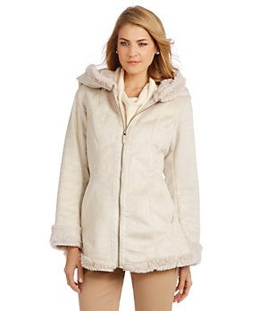 Jones New York Faux-Fur-Lined Faux-Suede Hooded Coat | Dillard's Mobile