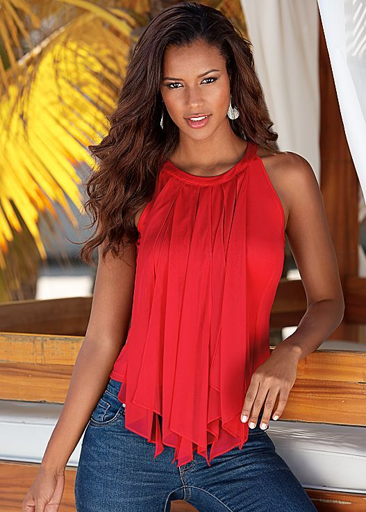 GLAM  beautiful womanRed Sheer fringe top. Available in sizes