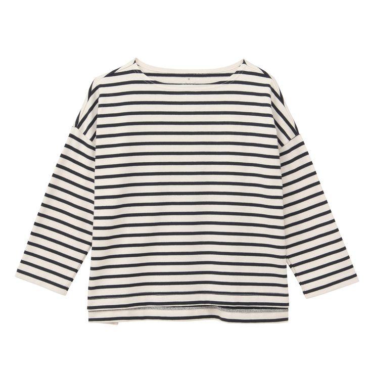 Drop shoulder stripe T shirts by Muji