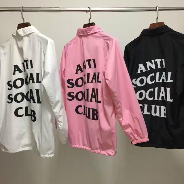 """ANTI SOCIAL SOCIAL CLUB"" Windbreaker #Jackets #Men ASSC Logo Hip Hop Yeezy Season Suprem Outdoor Treinador #Bomber Alfa Ceket Coats"
