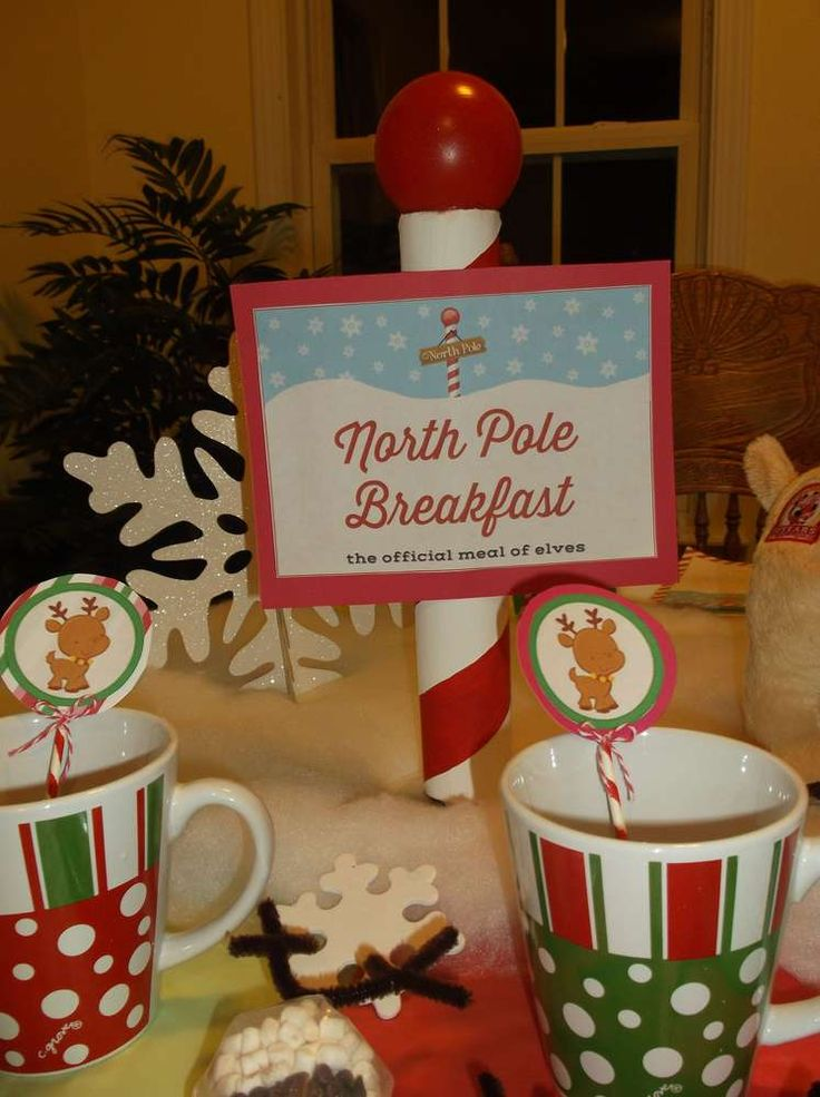 Hot cocoa at a North Pole breakfast party!  See more party planning ideas at CatchMyParty.com!
