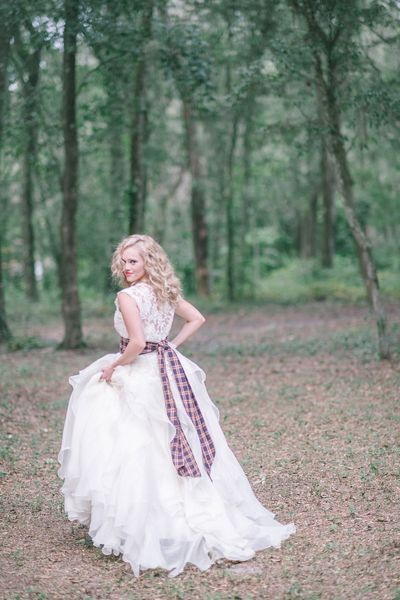 lace gown with a plaid sash | Julie Paisley #wedding