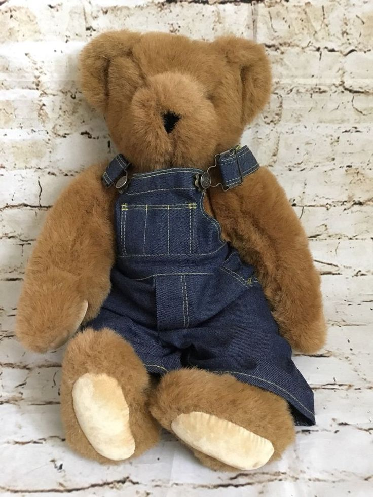 "The Vermont Company Stuffed Plush Teddy Bear Original Blue Denim Overalls 16""  #TheVermontCompany"