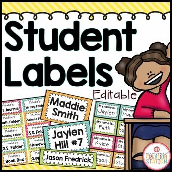 Student Labels - Editable {Brights Classroom Set}Organize your student's cubbies, desks, folders, notebooks and other materials easily with these editable labels!  BUY the  Brights Classroom Set MEGA-BUNDLE and SAVE!!!Includes:Cubby LabelsEdit the names on the labels and add to your students cubbies or lockers.