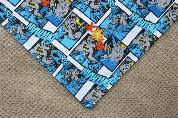 Batman Dog Bandana with Sky Blue Reverse by MarysBigSheep on Etsy, $12.00