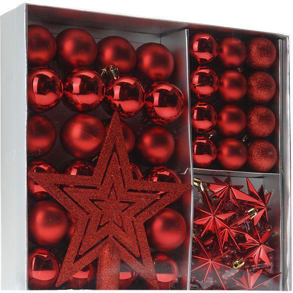 45 Tlg Weihnachtskugel Set Inkl Baumspitze Kaminrot Weihnachtskugeln Weihnachtsbaumschmuck Kugel