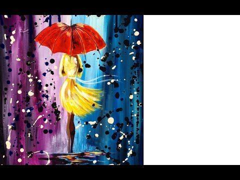 Easy acrylic painting lesson | City Walk Girl in the Rain | Umbrella Art - YouTube
