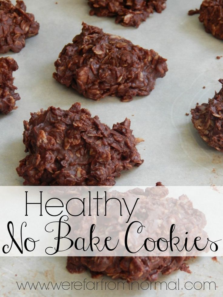 Healthy No Bake Cookies- Just like you used to get in school! These are full of peanut butter and chocolately goodness but without all the refined sugar! Made with honey and coconut oil for an added health boost!