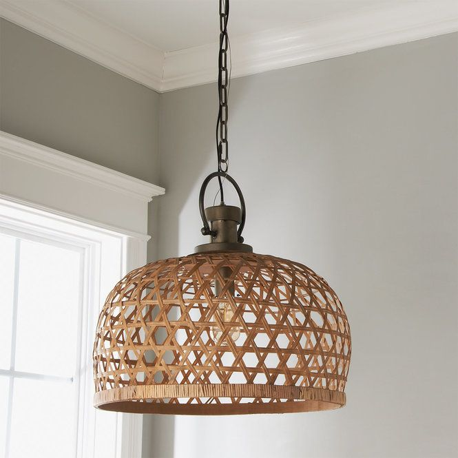 Our Basketweave Bamboo Pendant S Offbeat Mix Of Features Give An Organic Touch To It S Heavy Industrial Archetypes Natural Bambo Rustic Chandelier Bamboo Light