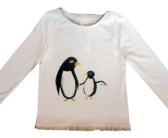 Girls Penguin Tee Shirt / Bird T-Shirt / by WithHugsandKisses