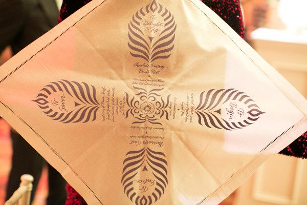 Engage!13 Montelucia Recap Wedding details - menu on napkin designed and printed by Gifts for the Good Life #Giftsforthegoodlife