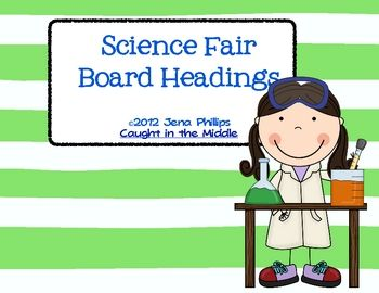 Created in the landscape format, this package includes 1 set of board headings for a science fair board.  The set is 7 pages long, with 2 titles pe...