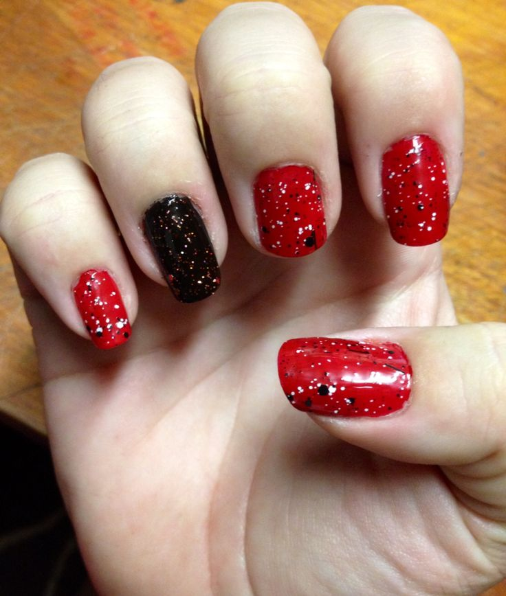 Halloween nails. Red, black with red glitter and newsprint ...