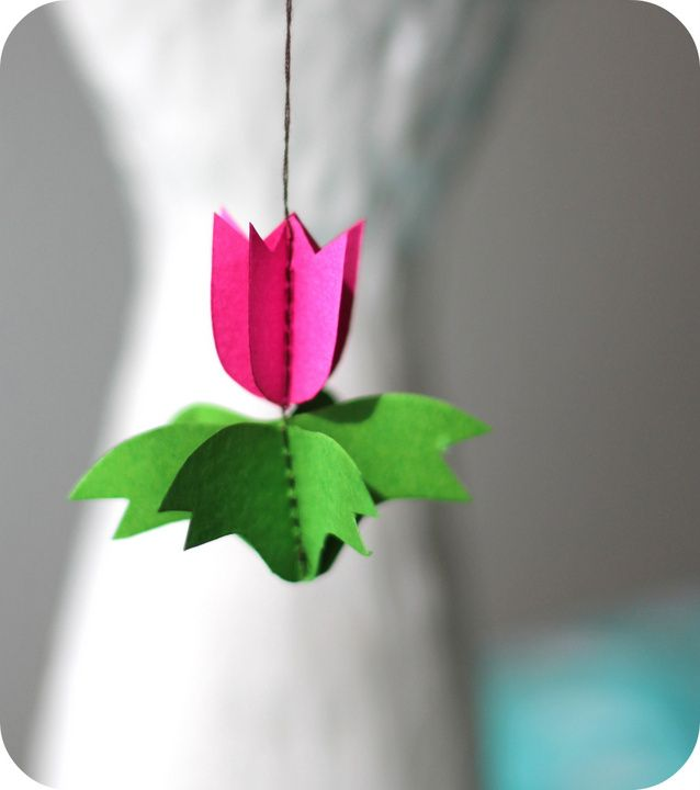 DIY- paper tulip ornament