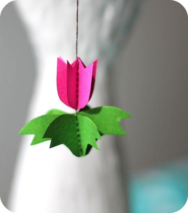 DIY- paper tulip ornament