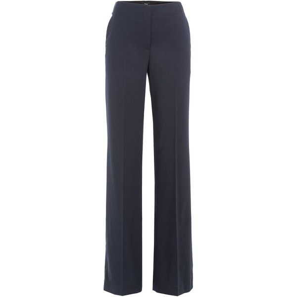 Theory Wide Leg Virgin Wool Pants (640 TND) ❤ liked on Polyvore featuring pants, blue, fancy pants, formal pants, wide leg pants, slim fitted pants and slim trousers