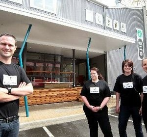 DUCKS IN A ROW: New owner Tim Watson officially opens Mud Ducks on Saturday. With him are staff members (from left) Kimberley Sills, Ruth Sicely and Haley Mallinder.