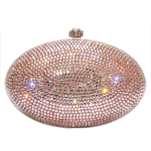 Light Pink Swarovski Crystal Handbag- Ladies Purse, Evening Bag Crystal Clutch ($21) found on Polyvore