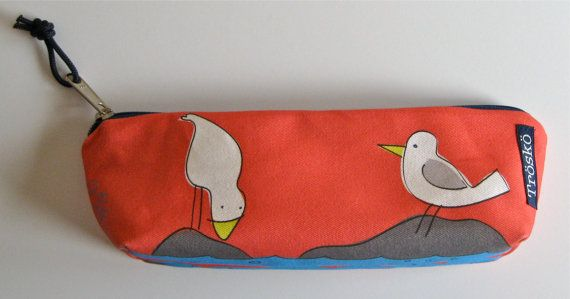 Zippered pouch Silly Seagulls in red cute print by by TroskoDesign