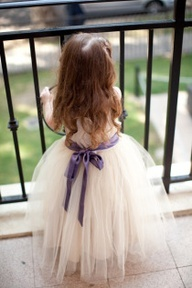 A long tulle tutu flowergirl dress