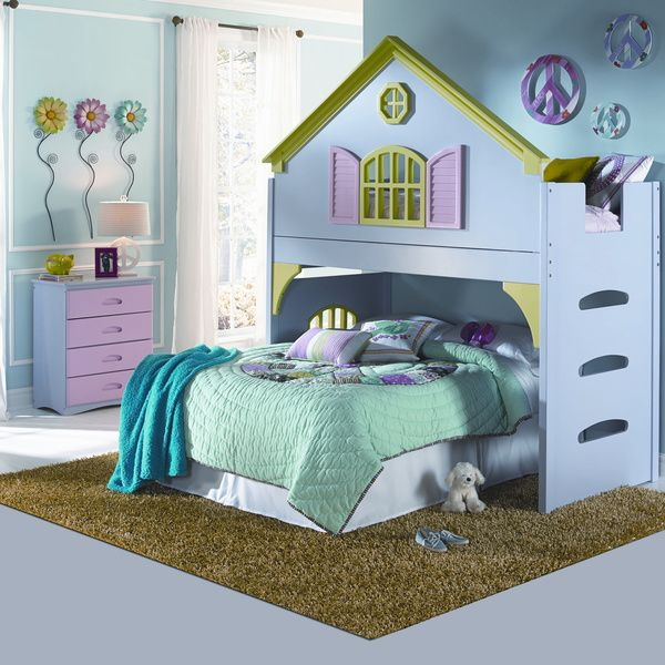 Pastel Doll House Twin Over Full Bunk Bed And Chest Set