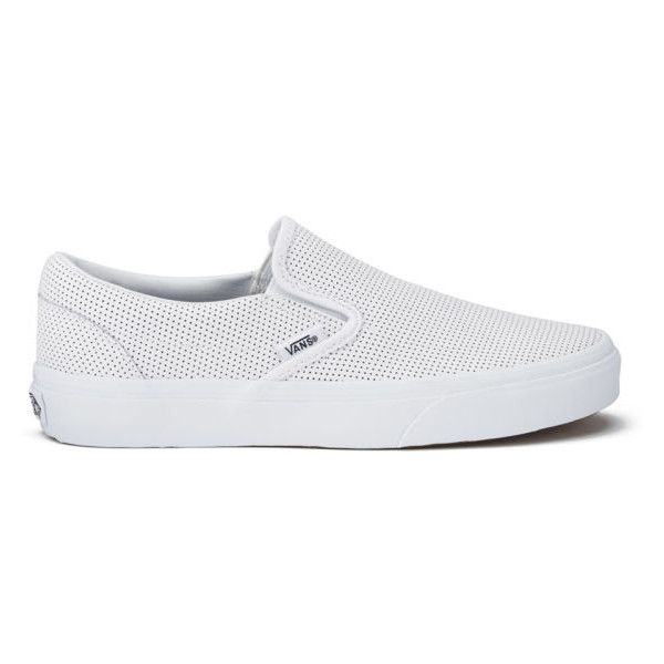 Vans Women's Classic Perforated Leather Slip-On Trainers - White ($75) ❤ liked on Polyvore featuring shoes, sneakers, vans, flats, sapatos, white, slip-on shoes, white leather flats, white flat shoes and white sneakers
