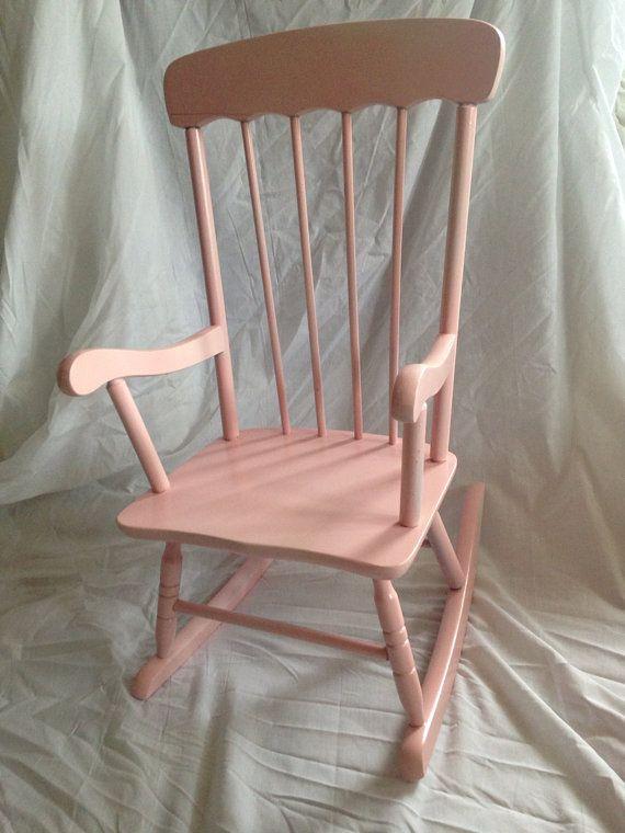 Ballet slipper pink child rocking chair: newborn photo prop, toddler rocking chair, nursery furniture on Etsy, $50.00