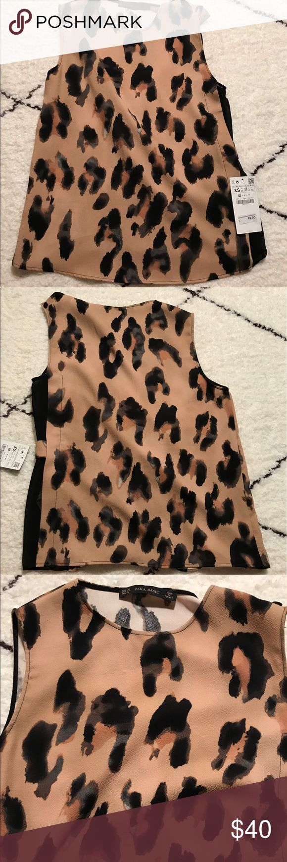 🆕 NWT Zara leopard print shirt Brand new, never worn, comes with original tag. Made of polyester. Chic! Zara Tops Camisoles