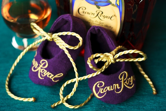 HA! Crown Royal Baby Booties-Made to order out of actual Crown Royal bags- custom.  via Etsy.
