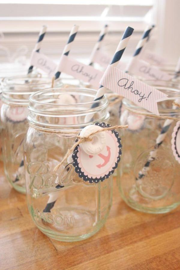 Sailor Girl Nautical Birthday Party: mason jar with printable tag + Lifesaver candy