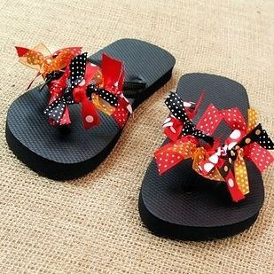 Tie polka-dot ribbons on a little one's summer flip flops. | 36 DIYs That Will Get The Whole Family Psyched For A Disney Vacation