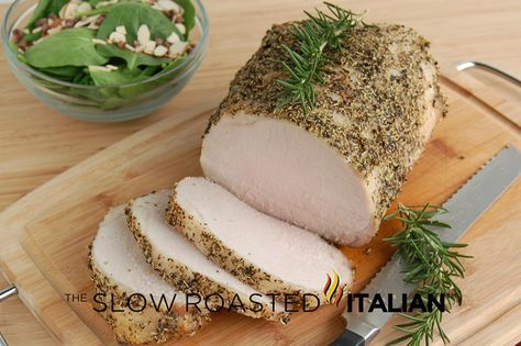 Perfect Every Time Pork Roast 3 pound pork loin 1 1/2 T extra virgin olive oil 1 T dried rosemary 1 T dried basil 1 tsp salt 1/2 tsp fresh ground black pepper Preheat oven 450° oven rack to center position bake 10 min reduce temp to 250° & bake for 60-90 min (time will vary depending on whether you have a short fat roast or a thin long roast)  145° internal temp