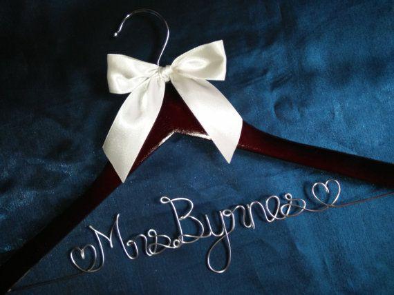 sale Personalized Custom Wire Wedding dress Hanger, bridesmaid gifts, name hanger, brides hanger bride gift,bride hanger for wedding dress
