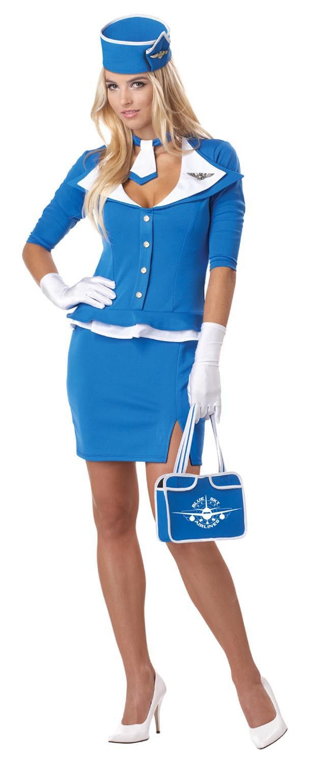 She's flying the friendly skies retro style in this stewardess costume.