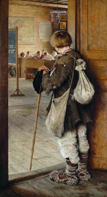 """At the School Door"", 1897. Nikolai Bogdanov-Belsky (1868-1945). Russian painter. http://www.artcyclopedia.ru/u_dverej_shkoly_1897_grm-bogdanov-belskij_nikolaj_petrovich.htm (Thx Niatera)"