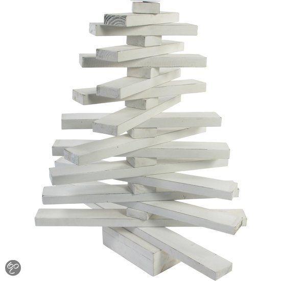 Staande ornament kerstboom hout wit was