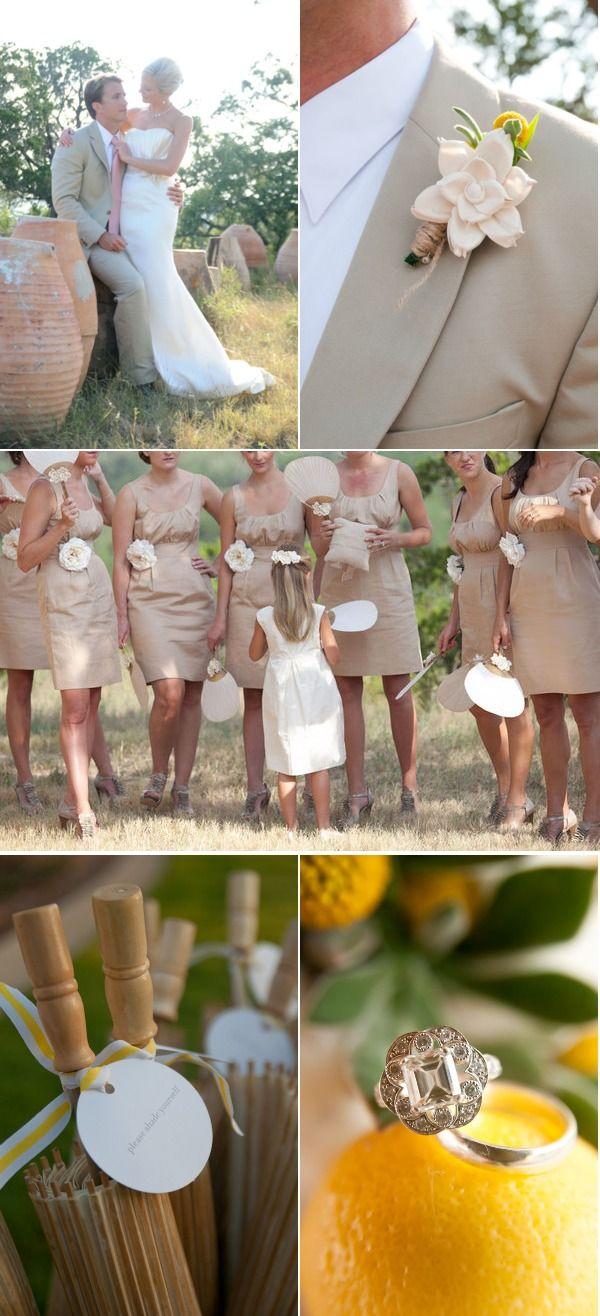 neutral bridesmaids with fans | a perfect spring wedding