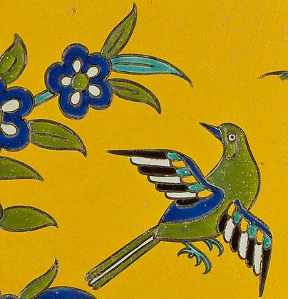 - Safavid cuerda seca tile panel, Iran 17th century
