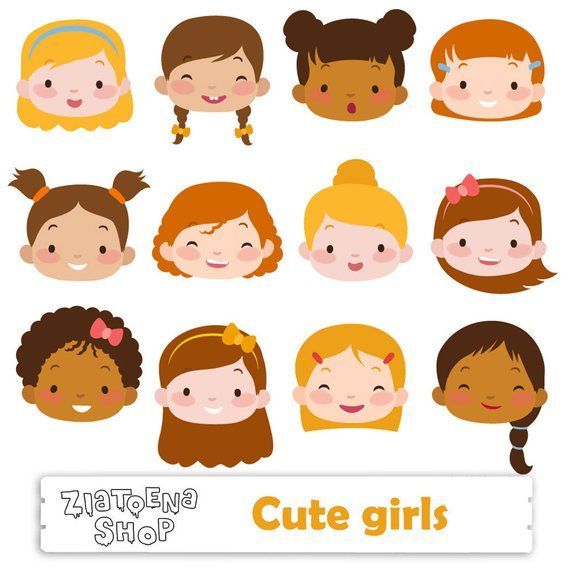Cute Girl Faces Clipart Kids Faces Digital Clipart Cute Kids Clip Art Children Head Illustration Girl Head Digita Kids Clipart Face Illustration Cute Girl Face