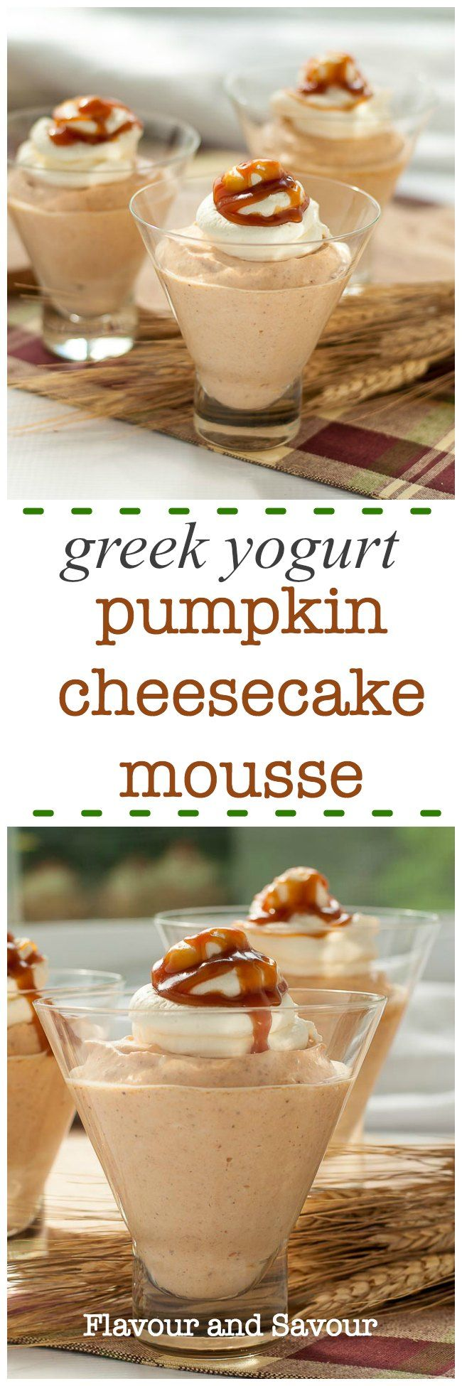 This Greek Yogurt Pumpkin Cheesecake Mouse is a rich and creamy no-bake mousse, made with canned pumpkin, Greek yogurt, and sweetened with maple syrup. Top with a dollop of whipped cream and a drizzle of caramel sauce for a decadent fall dessert!