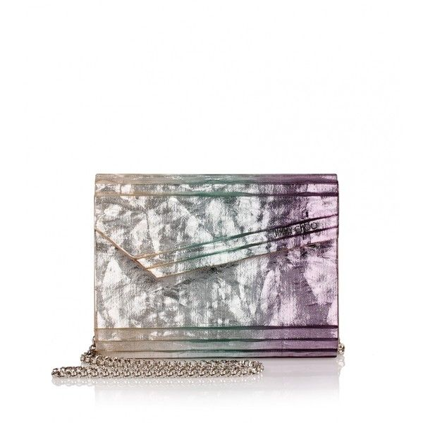 Jimmy Choo Candy Crinkled Velvet Printed Clutch (€700) ❤ liked on Polyvore featuring bags, handbags, clutches, purple, white cross body purse, chain crossbody, purple crossbody purse, over the shoulder purse and white purse