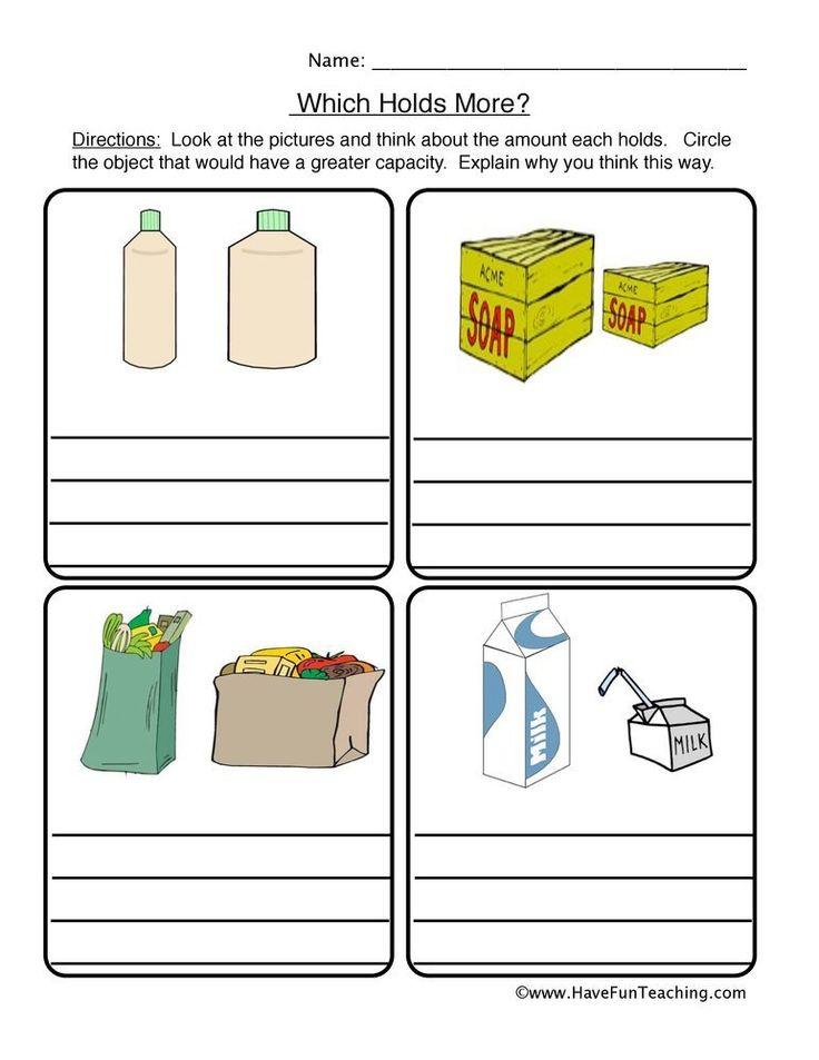 Capacity Worksheets For Kindergarten