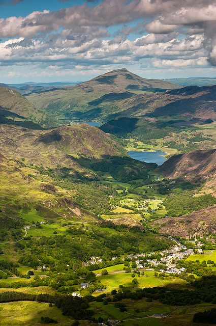 Beddgelert, Snowdonia , Wales, UK - Just look at all that rolling luscious green land. Makes me just dream and feel at peace.