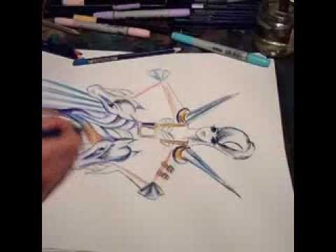 Fantasy costume illustration time lapse - YouTube