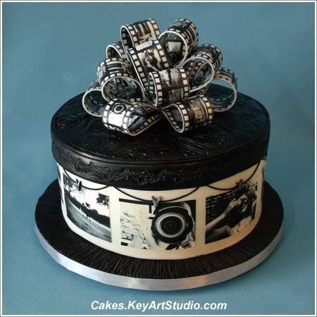 Black and White Photography Cake - skip the black fondant on top and make into tiered cake, for photographers and film buffs