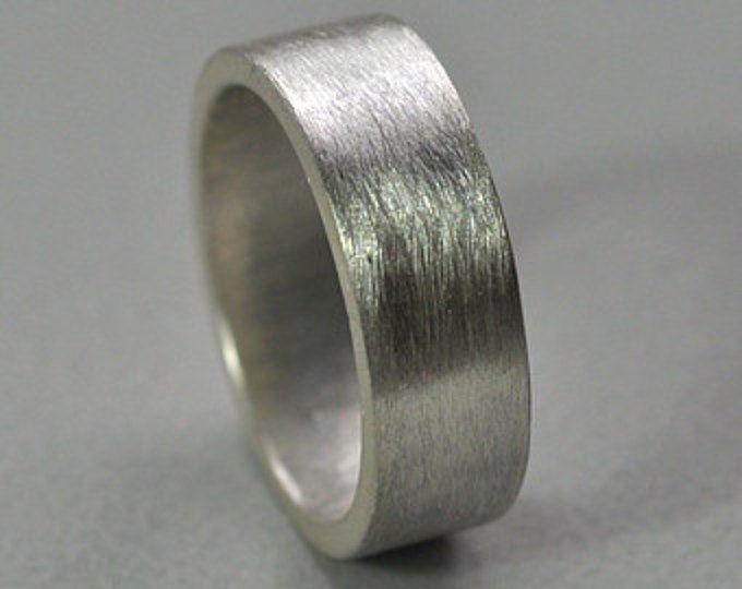 Men S Chunky 7mm Wedding Ring Sterling Silver Matte Wide Etsy Sterling Silver Wedding Band Silver Wedding Bands Sterling Silver Jewelry Handmade