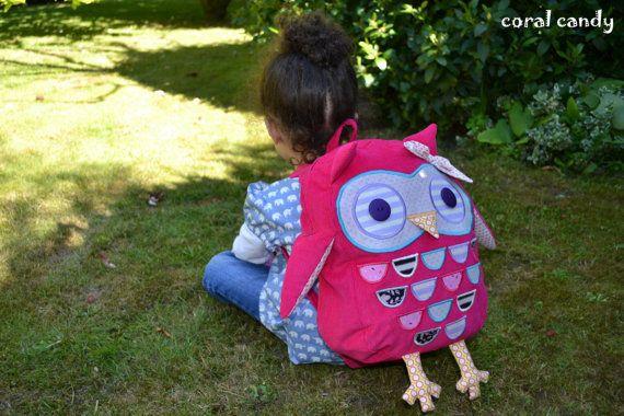 Cerise Pink Toddler / Child Owl Backpack by coralcandyshop on Etsy, £40.00